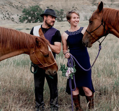 Bob and Sarah with their mares, Fragile and Mysteria