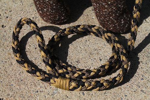 Med. gold & black paracord leash
