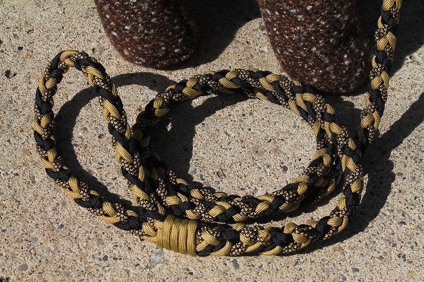 Gold & black braided leash - medium