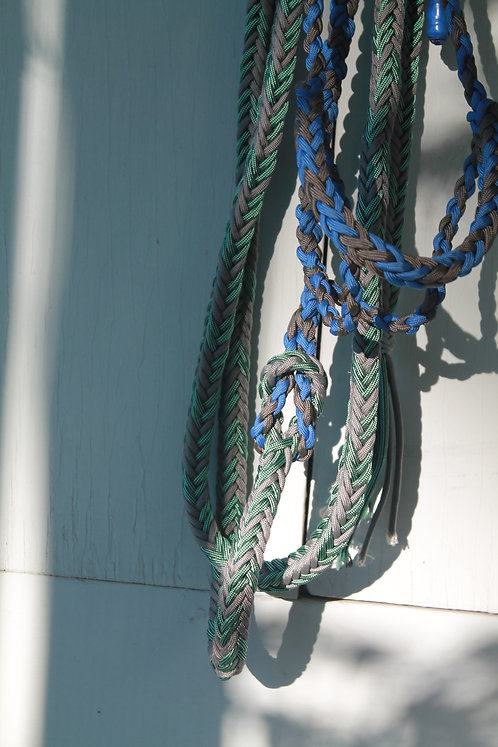 Paracord lead rope, green& grey