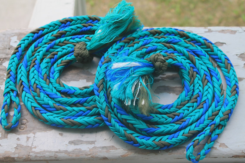 Braided Split Reins - olive/blues