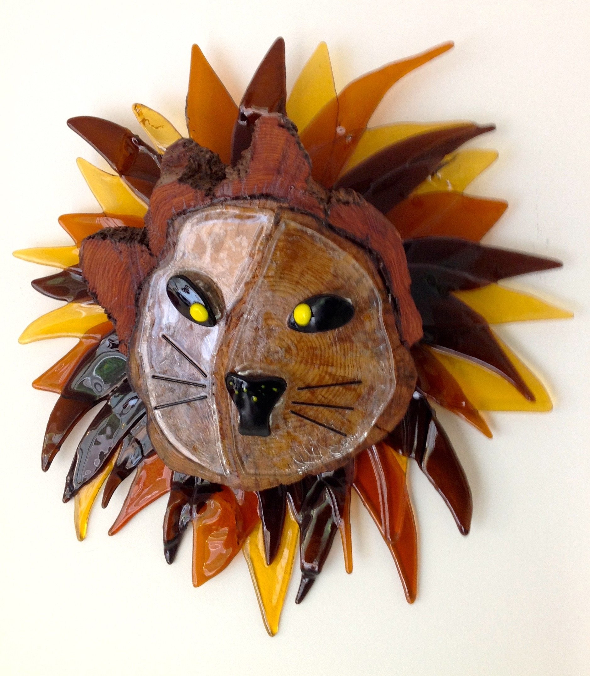 Glass and wood lion