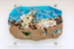 Fused glass and sand depicting the Tel Aviv Beach