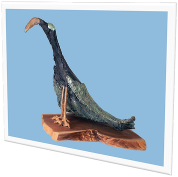 Peacock sculpture with found wood and bronze