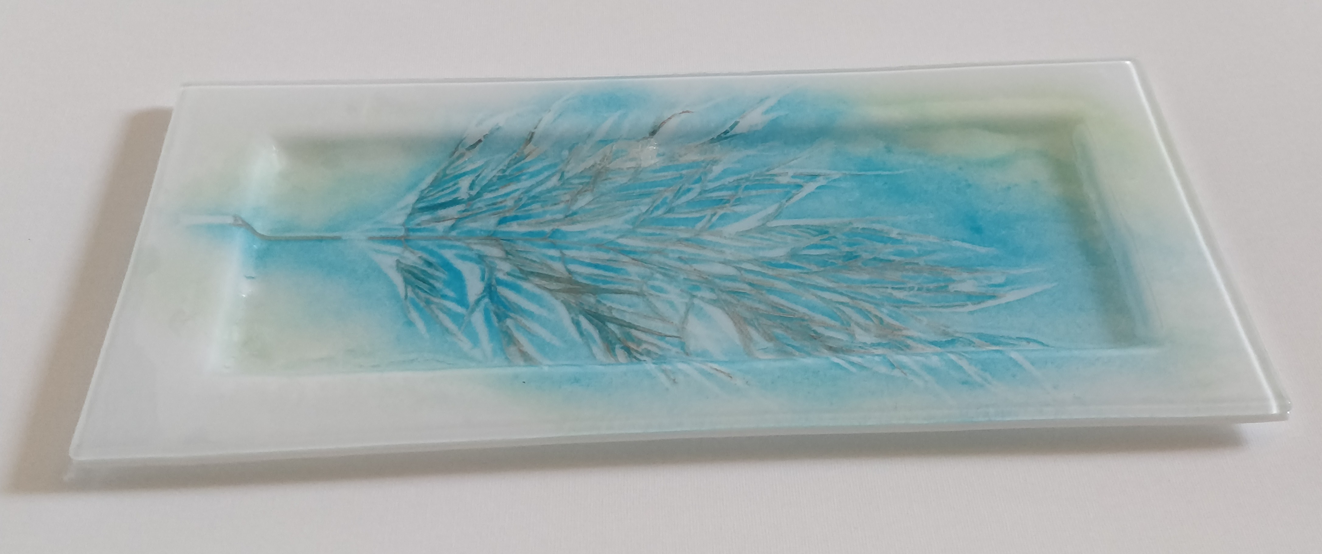 English cake plate, white with sky blue