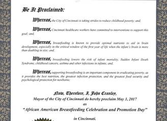 City of Cincinnati Mayor Proclamation May 3rd African American Breastfeeding Celebration & Promo