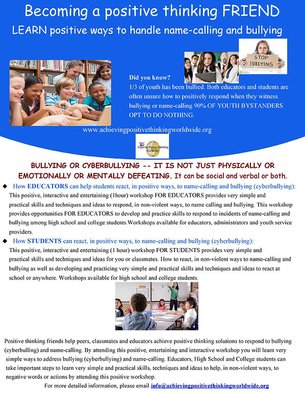 Bullying for EDUCATORS and STUDENTS and