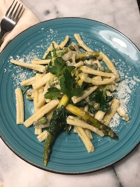 casarecce pasta with asparagus and vegetables