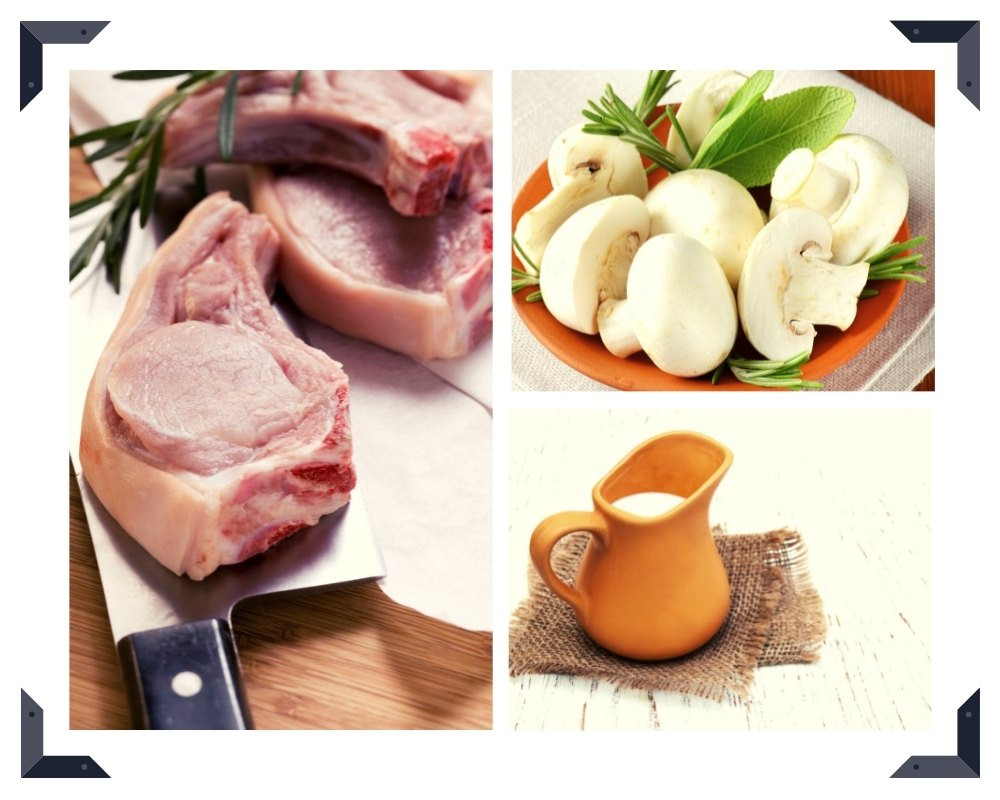 three raw pork chops, white mushrooms and cream in a tan pitcher