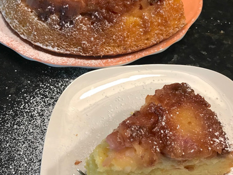 Rhubarb and Pineapple Upside-down Cake