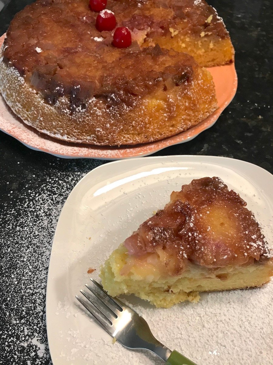 pineapple and rhubarb upside-down cake