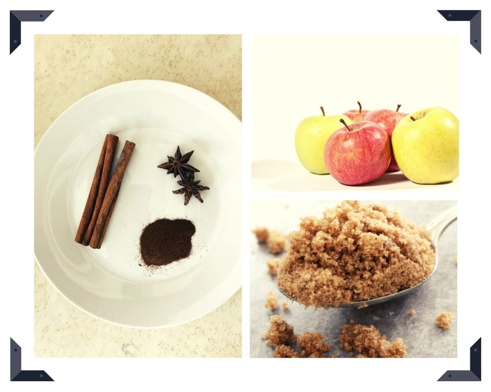 cinnamon sticks, star anise, ground clove, red and yellow apples, brown sugar