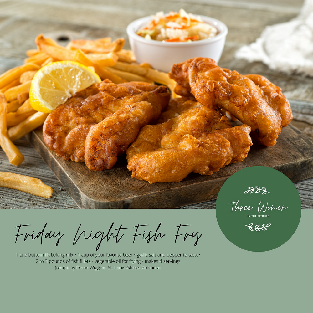 Fried fish with french fries and cole slaw with blog logo and batter recipe