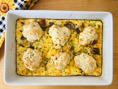 Breakfast Casserole with Biscuits and Bacon
