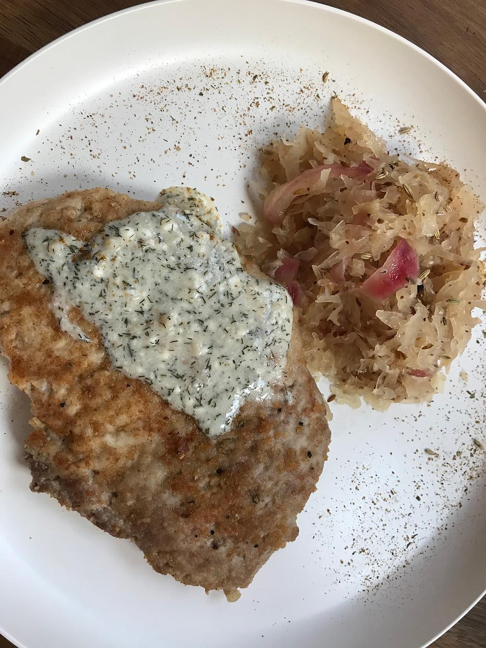 schnitzel with sauerkraut