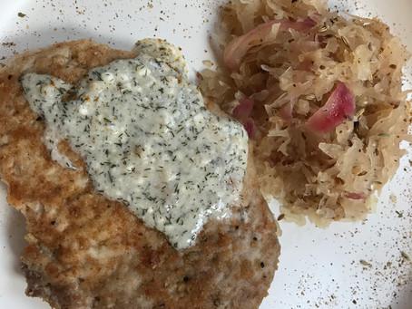 German Pork Schnitzel with Sauerkraut