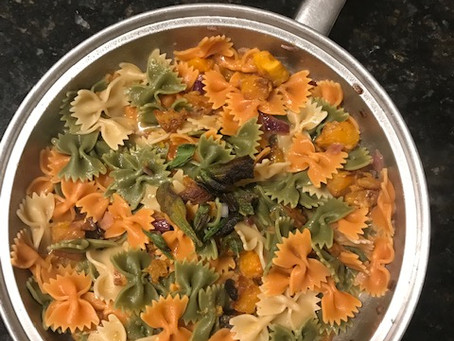 Tricolor pasta with roasted butternut squash