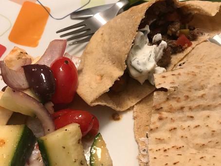 Beefy Greek-inspired pitas