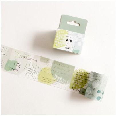 Green Words Wide Washi Tape / Masking Tape