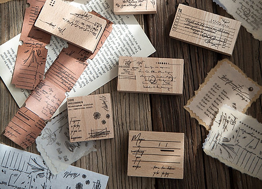 vintage label rubber stamps