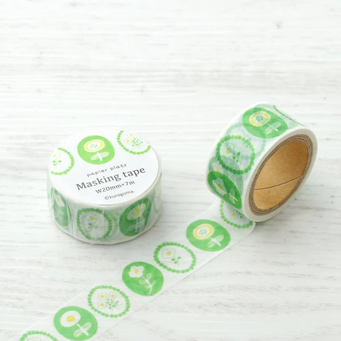 papier platz kurogoma green flower washi tape