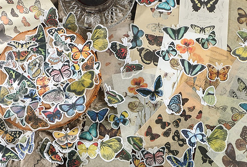Butterfly Sticker Flakes and Paper Ephemera Pack