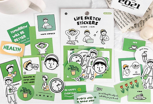 Young Traveller Life Sketch Sticker Flakes Pack