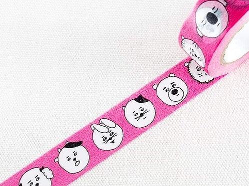 Classiky x Sennokoto 菅原しおん Washi Tape - Animal Face Pink