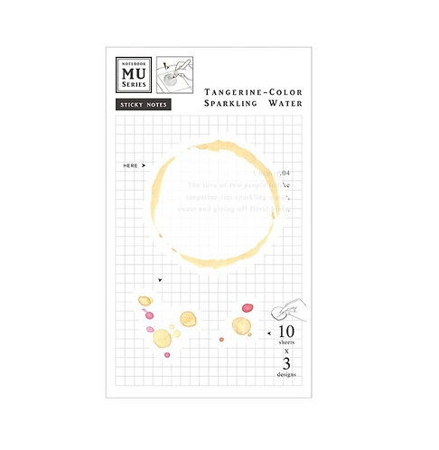 MU Watercolor Translucent Sticky Note Chap.04 Tangerine Color Sparkling Water
