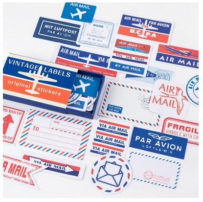 vintage air mail stickers
