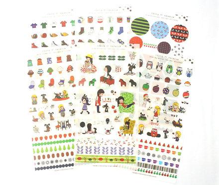Odong et Valerie Scandinavian Sticker Sheets Set