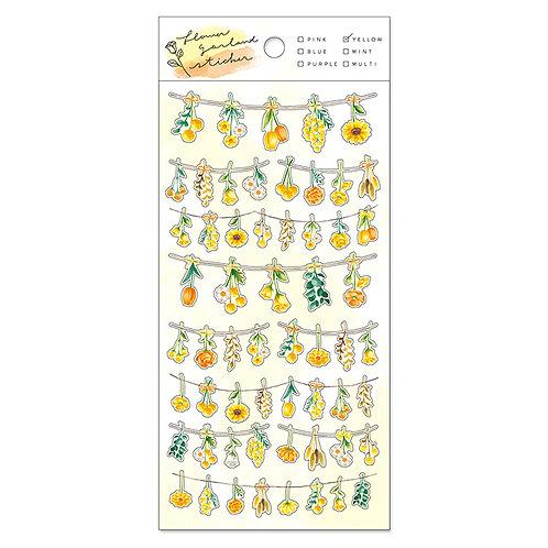 Mind Wave Flower Garland PET Sticker - Yellow