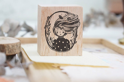 black milk project rubber stamp whimsical portrait raven