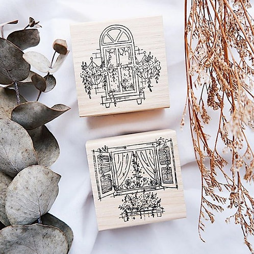 Laabiri Garden By The Window Rubber Stamp Set