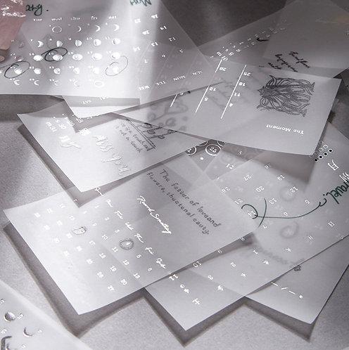 Silver Foil Vellum Paper Monthly Perpetual Calendar