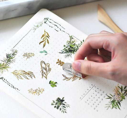 MU Gold Foil Print-On Sticker - Leaves 02