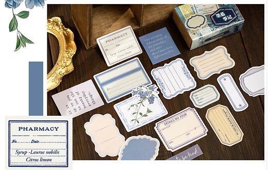 Blue Frames and Floral Stickers Box