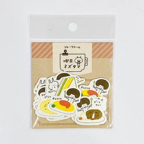 mizutama sticker flakes tea shop food