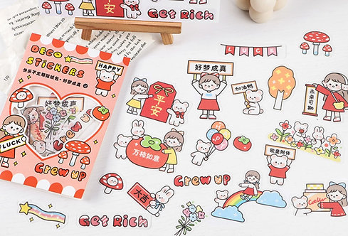 Cute Girl Red Prosperous Sticker Flakes Pack