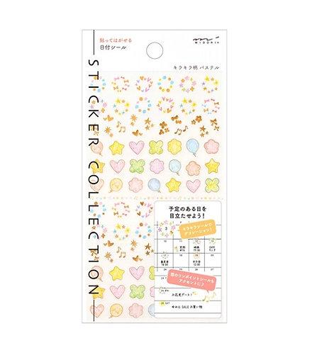 midori stickers, shapes, date