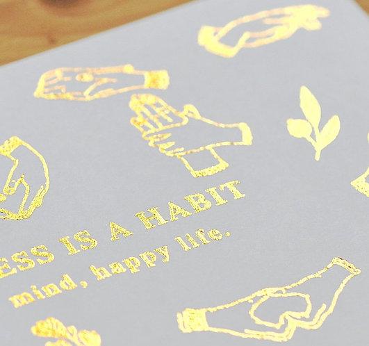 MU Gold Foil Print-On Sticker - Happiness Habit 05