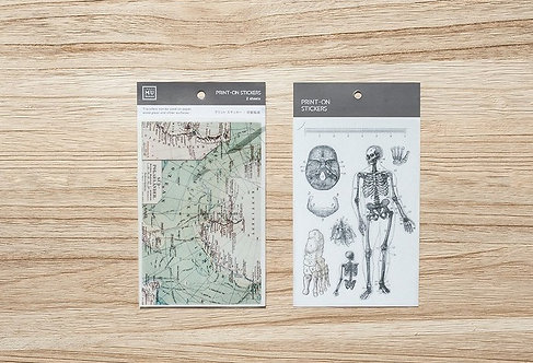MU Print-On Sticker - Vintage Map and Skeleton 016