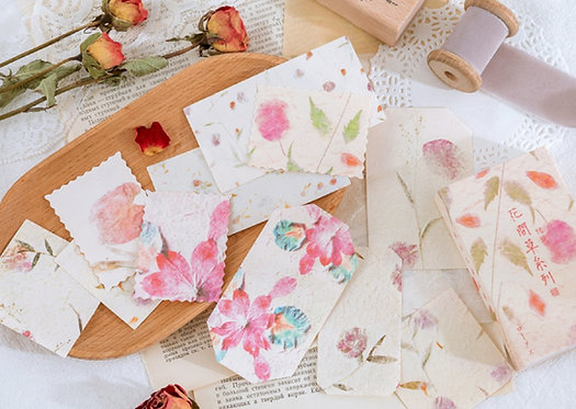 Pink Watercolor Flower Papers in Box