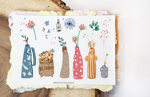 Black Milk Project Mini Stickers - Vase & Wildflowers