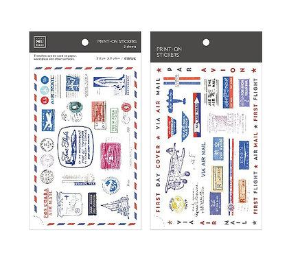 MU print on sticker air mail