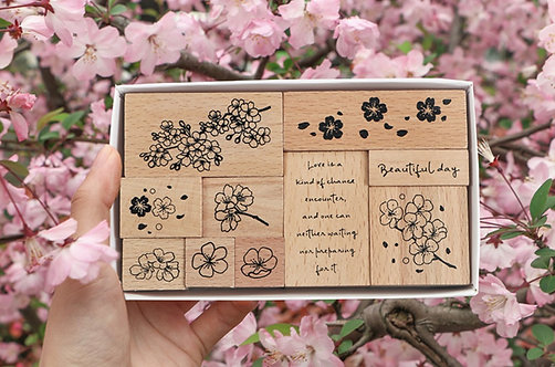 sakura flower rubber stamp set