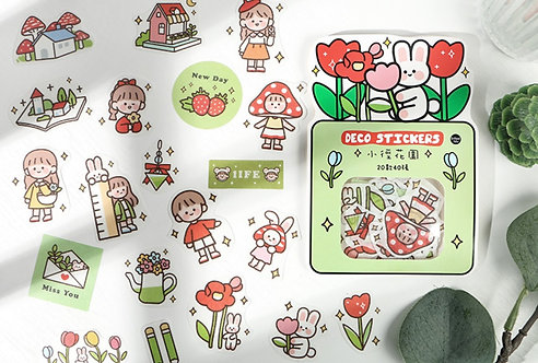 cute floral girl sticker flakes