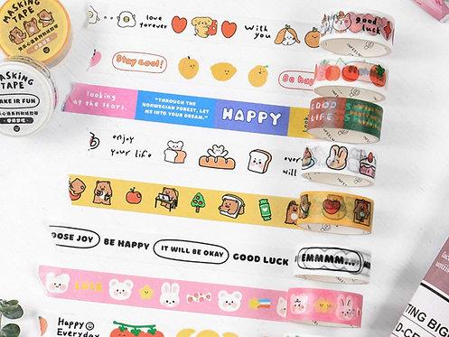 Cute Happy Cartoons Masking Tapes (Choose Design)