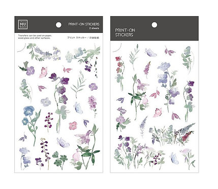 MU Print-On Sticker - Purple Blue Floral 157