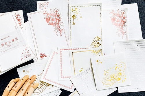 Gold, Pink, Silver Foil Writing Papers / Memo Sheets